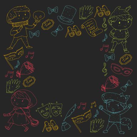 Children theatre patterns Elements for design on the theatre Collection of kids theatre symbols: mask, ticket, binocular KIndergarten or school children perfomance Doodle icons Vector Banque d'images - 95997284