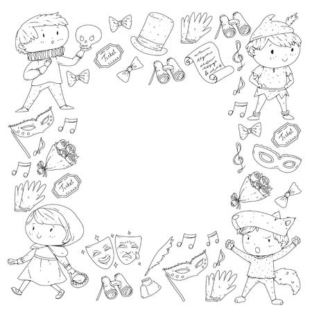 Children theatre patterns Elements for design on the theatre Collection of kids theatre symbols: mask, ticket, binocular KIndergarten or school children perfomance Doodle icons Vector Banque d'images - 95997289