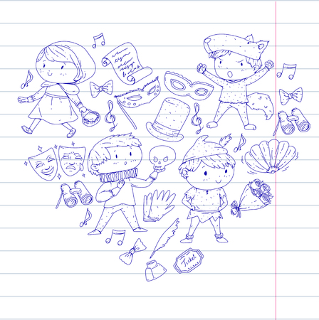 Children theatre patterns Elements for design on the theatre Collection of kids theatre symbols: mask, ticket, binocular KIndergarten or school children perfomance Doodle icons Vector Banque d'images - 96000063