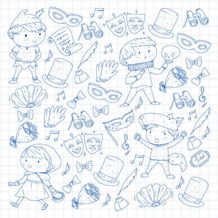 Children theatre patterns Elements for design on the theatre Collection of kids theatre symbols: mask, ticket, binocular KIndergarten or school children perfomance Doodle icons Vector