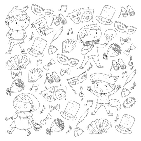 Children theatre patterns Elements for design on the theatre Collection of kids theatre symbols: mask, ticket, binocular KIndergarten or school children perfomance Doodle icons Vector Banque d'images - 96000062