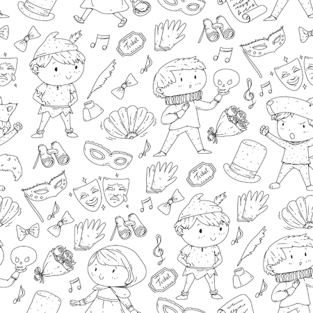 Children theatre patterns. Elements for design on the theatre. Collection of kids theatre symbols: mask, ticket, binocular. KIndergarten or school children perfomance. Doodle icons. Vector. Illustration