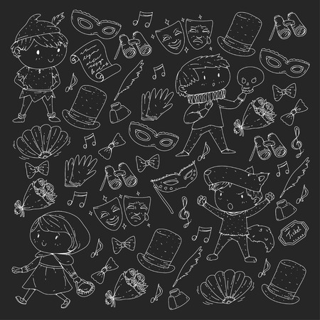 Children theatre patterns Elements for design on the theatre Collection of kids theatre symbols: mask, ticket, binocular KIndergarten or school children perfomance Doodle icons Vector Banque d'images - 95999687