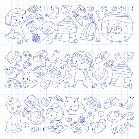 Pet shop, zoo, veterinary. Kindergarten small children. Kids plays with animals. Vector pattern woth cat, hamster, dog, bunny rabbit