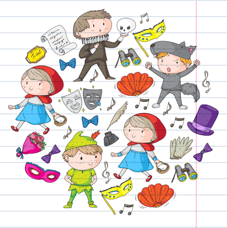 Collection of kids theatre symbols includes mask, ticket, binocular in colored doodle illustration.