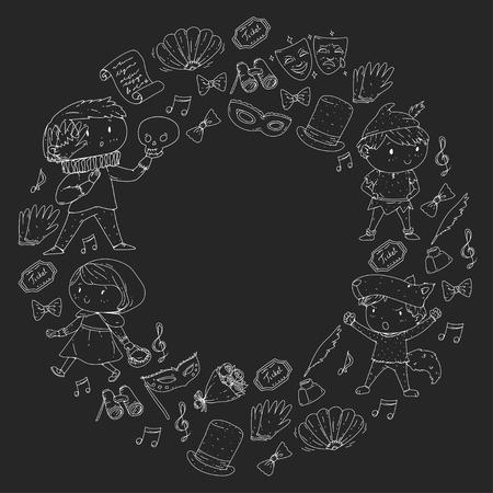 Children theatre patterns. Elements for design on the theatre. Collection of kids theatre symbols: mask, ticket, binocular. KIndergarten or school children perfomance. Doodle icons. Vector. Banque d'images - 96007507