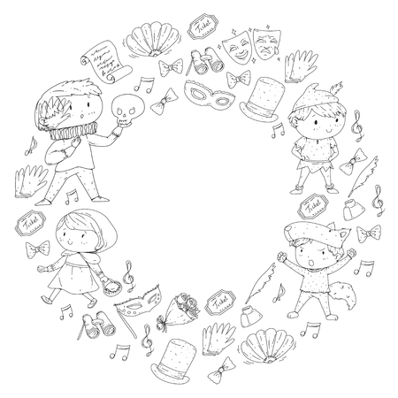 Children theatre patterns. Elements for design on the theatre. Collection of kids theatre symbols: mask, ticket, binocular. KIndergarten or school children perfomance. Doodle icons. Vector. Banque d'images - 96007508
