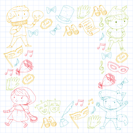 Children theater patterns, elements for design on the theater. Collection of kids theater symbols: mask, ticket, binocular. School children performance doodle icons vector. Banque d'images - 96014470
