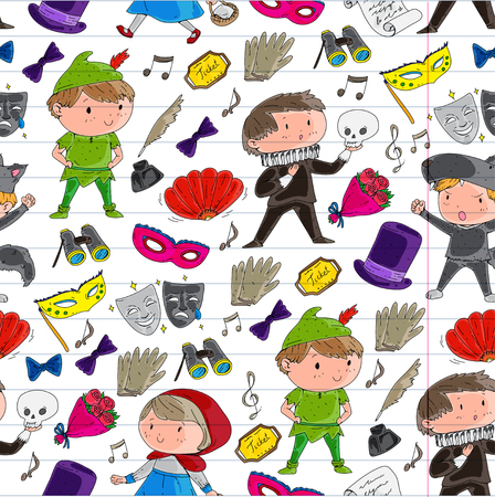 Children theater patterns, elements for design on the theater. Collection of kids theater symbols: mask, ticket, binocular. School children performance doodle icons vector.