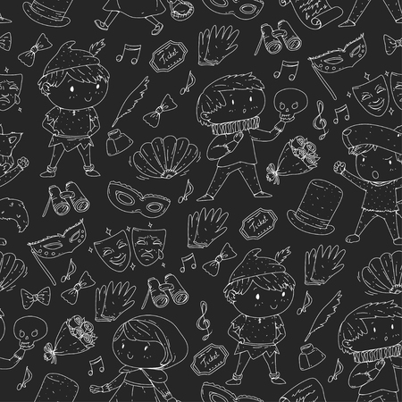 Children theatre patterns Elements for design on the theatre Collection of kids theatre symbols: mask, ticket, binocular KIndergarten or school children perfomance Doodle icons Vector Banque d'images - 96002742