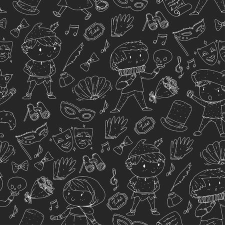 Wzory teatralne dla dzieci Elementy do projektowania w teatrze Kolekcja symboli teatralnych dla dzieci: maska, bilet, lornetka Przedszkole lub wydajność dzieci w wieku szkolnym Doodle ikony Wektor Ilustracje wektorowe
