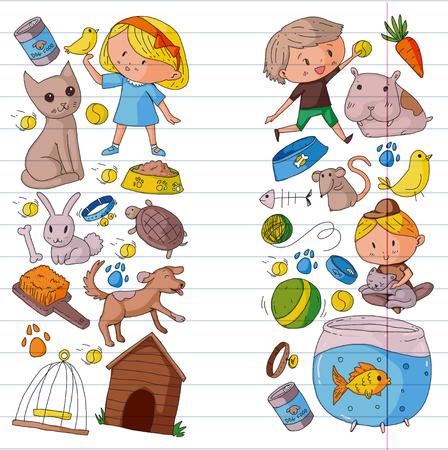 Pet shop, zoo, veterinary. Kindergarten small children. Kids plays with animals. Vector pattern woth cat, hamster, dog, bunny rabbit