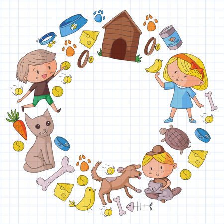 Pet shop, zoo, veterinary and children. Kids play with animals vector pattern with cat, hamster, dog, bunny, rabbit. Study, care and play concept. Banque d'images - 96014596
