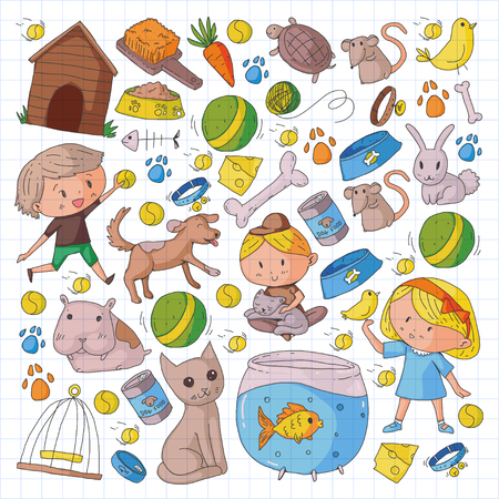 Pet shop, zoo, veterinary. Kindergarten small children. Kids plays with animals. Vector pattern woth cat, hamster, dog, bunny, rabbit. Study, care and play Illustration