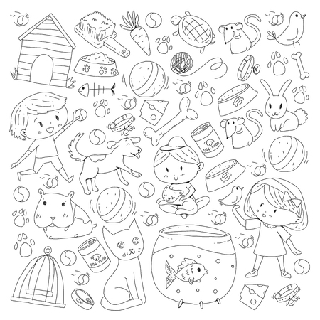 Pet shop, zoo, veterinary. Kindergarten small children. Kids plays with animals. Vector pattern woth cat, hamster, dog, bunny, rabbit. Study, care and play Banque d'images - 96007562