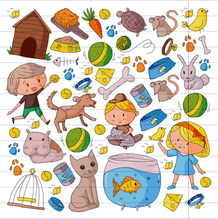 Pet shop, zoo, veterinary. Kindergarten small children. Kids plays with animals. Vector pattern woth cat, hamster, dog, bunny, rabbit. Study, care and play Banque d'images - 96290047