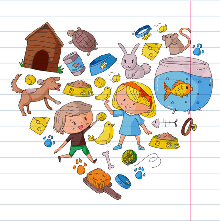 Pet shop, zoo, veterinary. Kindergarten small children. Kids plays with animals. Vector pattern woth cat, hamster, dog, bunny, rabbit. Study, care and play Banque d'images - 96290048