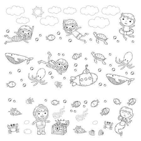 Underwater. Kids waterpark. Sea and ocean adventure. Summertime. Kids drawing. Doodle images. Cartoon creatures with children. Boys and girls swimming Stock Illustratie