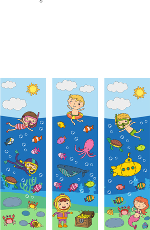 Underwater. Kids waterpark. Sea and ocean adventure. Summertime. Kids drawing. Doodle images. Cartoon creatures with children. Boys and girls swimming Çizim