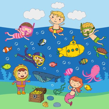 Underwater. Kids waterpark. Sea and ocean adventure. Summertime. Kids drawing. Doodle images. Cartoon creatures with children. Boys and girls swimming Vettoriali