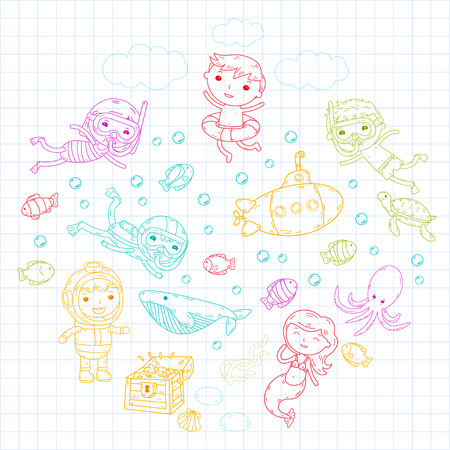 Kids waterpark. Sea and ocean adventure. Cartoon creatures with children.
