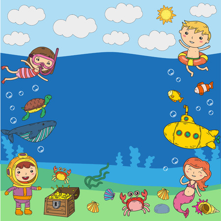 vector illustration of little children swimming with fishes, turtles, crabs, shells.