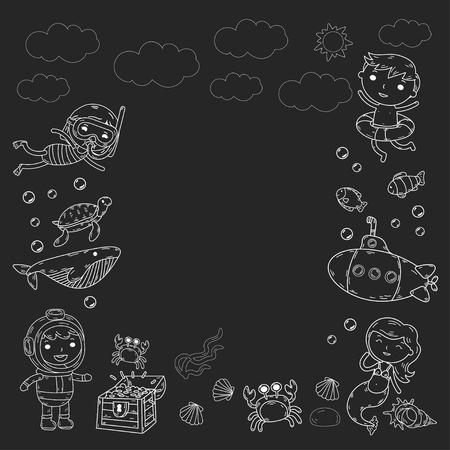 underwater concept with children, crabs, fishes, shells, clouds, sun, submarine. Vector illustration. Illustration