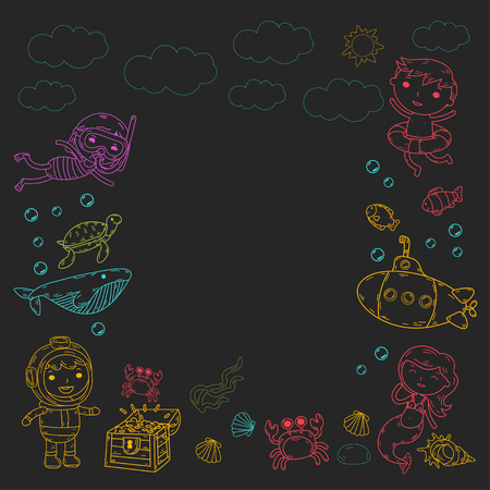 vector illustration of little children swimming with fishes, turtles, crabs, shells on black background.