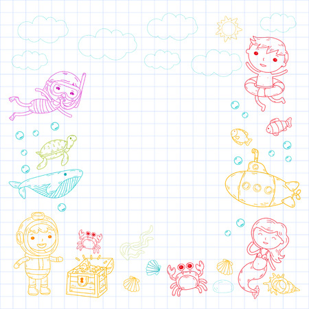 vector illustration of little children swimming with fishes, turtles, crabs, shells on graph paper.