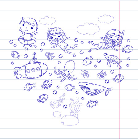 underwater concept with children,  fishes, shells, clouds,   submarine. Vector illustration.