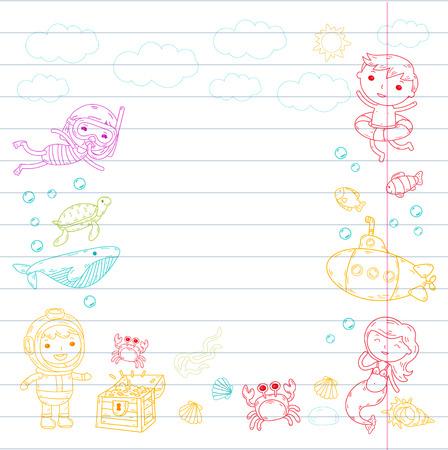 水中。キッズウォーターパーク。海と海の冒険。夏 -並んだ紙の上にカラフルな落書き画像