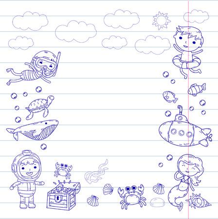水中。キッズウォーターパーク。海と海の冒険。夏 -紫色の落書き画像と並んだ紙に雲