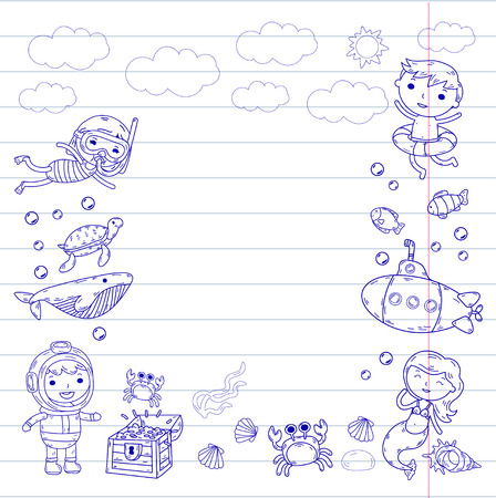 Underwater. Kids waterpark. Sea and ocean adventure. Summertime -purple Doodle image with clouds on a lined paper Stock Illustratie