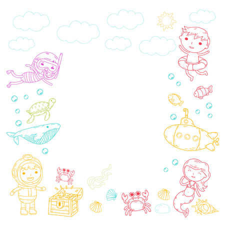 Underwater. Kids waterpark. Sea and ocean adventure. Summertime - colorful Doodle image with clouds on a blank white background