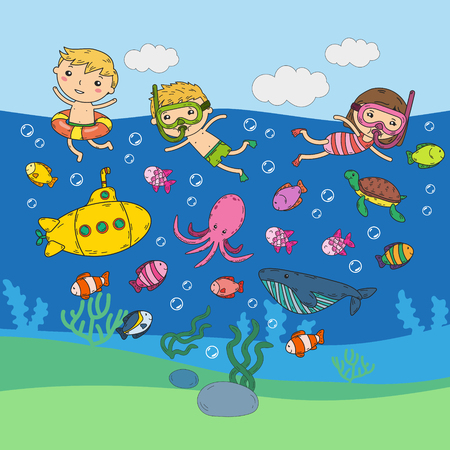 Underwater. Kids waterpark. Sea and ocean adventure. Summertime. Kids drawing. Colorful doodle image. Cartoon creatures with children. Boys and girls swimming Illustration
