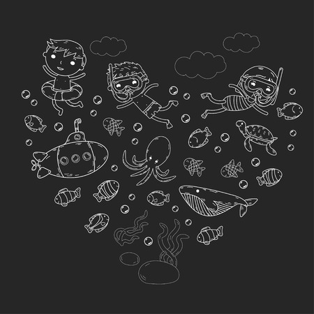 Underwater. Kids waterpark. Sea and ocean adventure. Summertime. Kids drawing. Black and white doodle image. Cartoon creatures with children. Boys and girls swimming