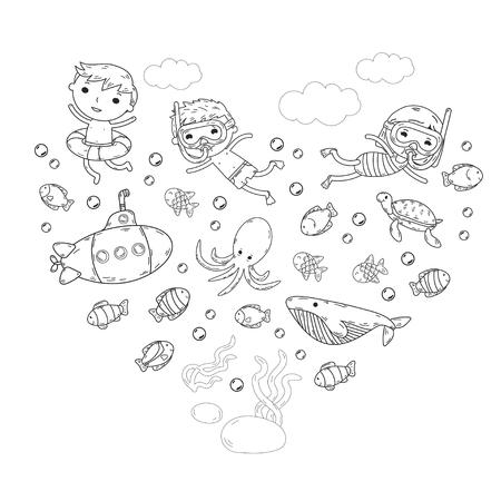 Underwater. Kids watermark. Sea and ocean adventure.