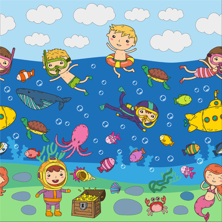 Group of kids on different waterpark activities on colorful doodle at the sea. Illustration