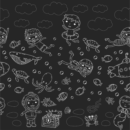 海で黒と白の落書きに異なるウォーターパーク活動の子供のグループ。