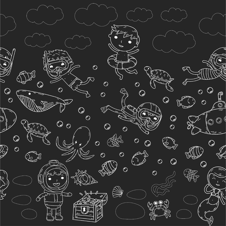 Group of kids on different waterpark activities on black and white doodle at the sea.