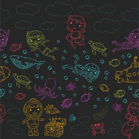 海でカラフルなステンシル落書きに異なるウォーターパーク活動の子供のグループ。  イラスト・ベクター素材