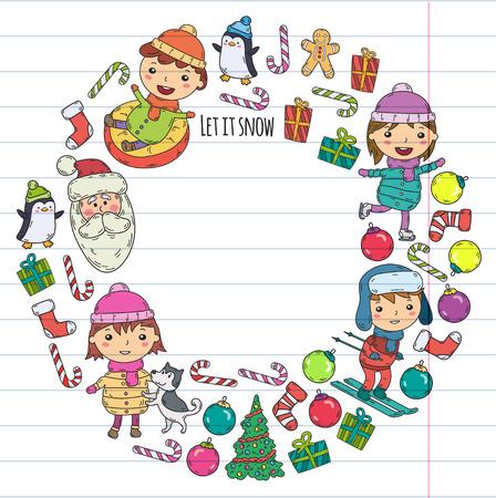 Kinderen en winterspelen skiën, slee, schaatsen kerstviering.