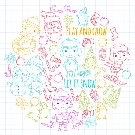 Children and winter games  ski, sledge, ice skating Christmas celebration. Illustration