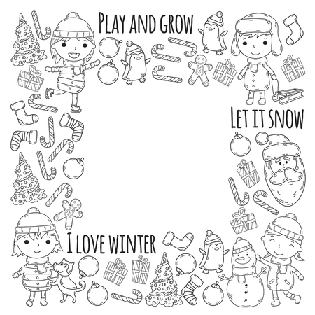 Children and winter games  ski, sledge, ice skating Christmas celebration. Stock Illustratie
