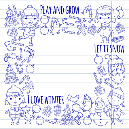 Children and winter games  ski, sledge, ice skating Christmas celebration. Illustration