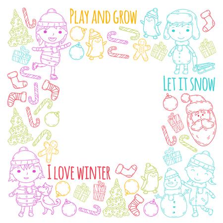 Children and winter games  ski, sledge, ice skating Christmas celebration. Stok Fotoğraf - 96077489