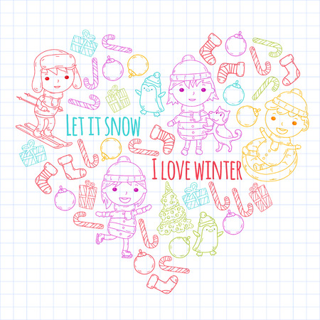 Children and winter games. Kids drawing vector doodle image.