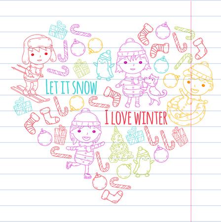 Children and winter games. Kids drawing vector doodle image. Stok Fotoğraf - 96057316