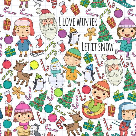 Kinderen en winterspelen - ski, slee, schaatsen kerstviering. Kleuterschoolkinderen spelen en hebben plezier. Kerstman, sneeuwpop, herten, pinguïn. Kinderen tekenen vector doodle afbeelding. Stock Illustratie