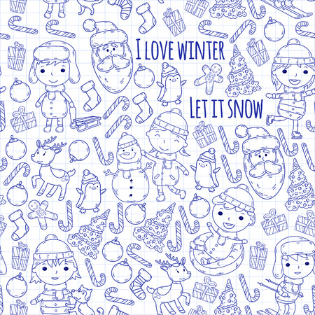 Children and winter games - ski, sledge, ice skating Christmas celebration. Kindergarten kids play and having fun. Santa claus, snowman, deer, penguin. Kids drawing vector doodle image. Stock Illustratie